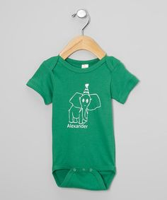 Green & White Personalized Party Hat Elephant Bodysuit - Infant
