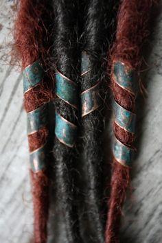 Set of 4 spiral copper dreadlock beads in antiqued by CuprumFactum