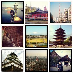 Collage of some places I've been ❤ #japan #tokyo #fuji #kyoto #nara #hiroshima #miyajima #kobe #itami #osaka