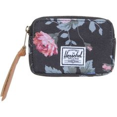 The Herschel Supply Co. Brand Coin Purse (€32) ❤ liked on Polyvore featuring bags, wallets, black, black wallet, black coin purse, zipper coin pouch, change purse and floral print wallet
