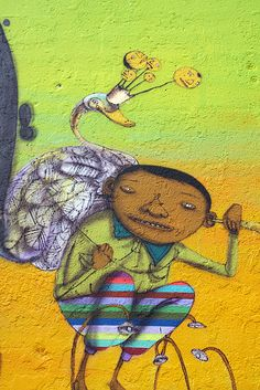 Brazilian artists OsGemeos Mural (NYC)