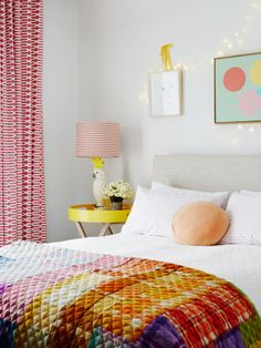 Millicent's bedroom. Jardan bed with quilt by Penelope Durston of Cottage Industry, and bed linen by Castle. Photo – Annette O'Brien. Production – Lucy Feagins / The Design Files. Home Bedroom, Bedroom Decor, Bedroom Ideas, Brighton, Melbourne, Black Bed Linen, The Design Files, Teen Girl Bedrooms, Bed Styling