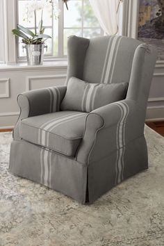 Slipcovered Tristan Chair U0026 Ottoman In French Grey Stripe | Soft  Surroundings $700 For Both. Slipcover ChairFurniture SlipcoversWingback ...
