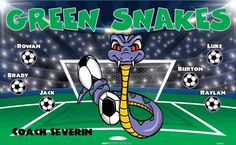 Green Snakes B54495  digitally printed vinyl soccer sports team banner. Made in the USA and shipped fast by BannersUSA.  You can easily create a similar banner using our Live Designer where you can manipulate ALL of the elements of ANY template.  You can change colors, add/change/remove text and graphics and resize the elements of your design, making it completely your own creation.