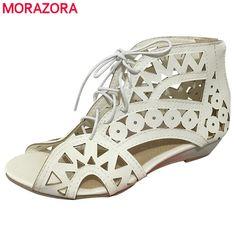 e15bcbd4d988d MORAZORA SIZE New 2017 fashion cut outs gladiator sandals women sexy summer  wedges low heels Bohemian beach shoes woman