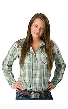 RU Cowgirl® Sherry Cervi™ Women's Brown & Turquoise Plaid Long Sleeve Western Shirt | Cavender's Boot City