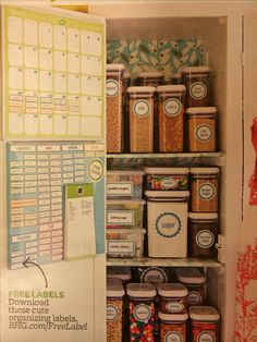Pantry organization- like the calendar on the back of the door