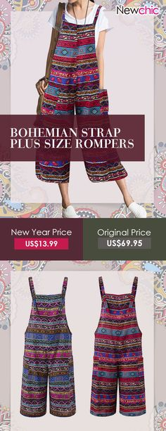 295b00140164f Amazing O-NEWE Bohemian Strap Plus Size Rompers on Newchic