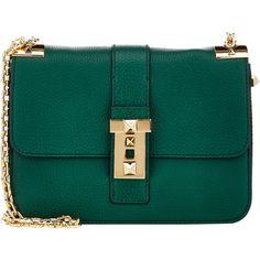 Valentino B-Rockstud Shoulder Bag (£2,165) ❤ liked on Polyvore featuring bags, handbags, shoulder bags, bolsas, valentino, bolsos, green, green handbags, shoulder handbags and shoulder strap bag