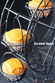 Aren't these Caramel Apple Cupcakes too cute for words? They sound super simple to make, and I love that ferris wheel cupcake holder - who wouldn't want a Cupcake Ferris Wheel at their next fall party?