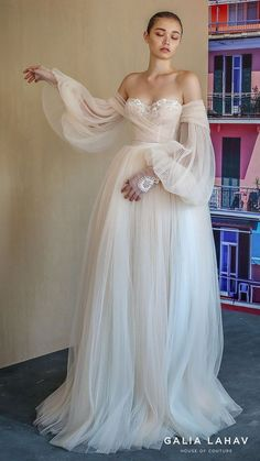 Galia Lahav Fall 2019 Bridal Wedding Dress // off shoulder sheer balloon sleeves sweetheart neckline lace bodice pleated ball gown wedding dress sweep train blush romantic (bellina) mv -- Here's The Gorgeous New Collection That Everyone Will Be Talking Ab Pretty Dresses, Beautiful Dresses, Elegant Dresses, Romantic Dresses, Awesome Dresses, Bridal Wedding Dresses, Backless Wedding, Ball Gown Wedding, Sleeve Wedding Dresses