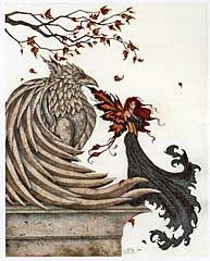 """""""Autumn Griffin"""" Cross Stitch Pattern - A fairy with fiery wings and tresses shares a perch with her stone companion. Design is 450 stitches wide by 567 stitches tall. This is a massive project that will provide you with many hours of enjoyment."""