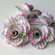 Repurposing book pages into paper flowers :)