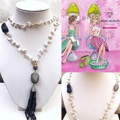 LONG NECKLACE WITH BAROQUE PEARLS OF SWEET WATER, AND IOLITES PENDANT WITH SPHINELS
