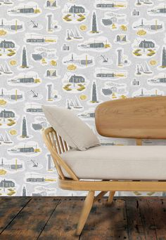 Mini Moderns 'Dungeness' wallpaper in Concrete colourway from 2014 Hinterland collection minimoderns.com