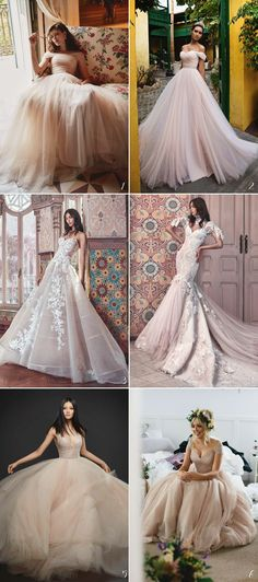 6 Unexpectedly Beautiful Wedding Dress Color Trends We Love - Dusty Rose
