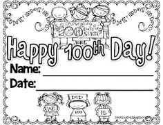 The 25 Best Free Day of School Printable Activities and Worksheets – Classy Mommy - Zeugnis Grundschule 100 Days Of School, School Holidays, School Stuff, Random Holidays, 100s Day, 100 Day Celebration, School Coloring Pages, School Worksheets, Art Worksheets