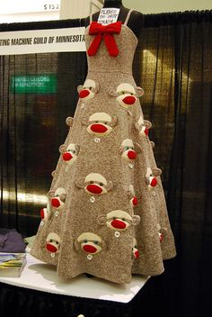 Sock Monkey Dress by Rebecca Yaker. Sock monkey is everywhere these days. Monkey Business, Patterned Socks, Knitting Socks, Swagg, Wearable Art, Dress Making, In This World, How To Make, How To Wear