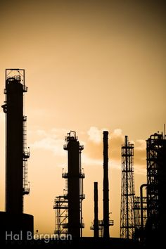Industrial Photography: Oil Refinery Silhouette, Los Angeles, California