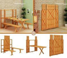 DIY Plans - Space Saving Fold Down Picnic Table Platzsparend Falte unten Picknick-Tisch Murphy Bed, Fold Up Picnic Table, Picnic Tables, Patio Table, Table Bench, Garden Table, Picnic Set, Wood Table, Rustic Furniture