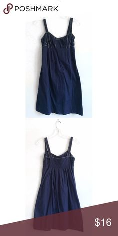 """Anthropologie Viola Navy Sundress Navy blue sleeveless sundress from Anthropologie size 0, gently used--only sign of wear is the large cloth tag is fraying. I loved this dress but it hasn't fit me in ages, best it goes to someone who could actually wear it. 35"""" top of strap to hem, 13.5"""" flat across ribcage, hidden side zip, empire waist, will accept most offers! ☺️ Anthropologie Dresses Mini"""