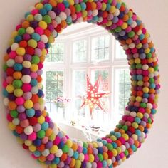could this be the most colourful one of them all? Pom Pom Rainbow Wall Mirror ideen kinder Storage Ideas For Rooms And Children's Playgrounds - jihanshanum Rainbow Bedroom, Rainbow Wall, Rainbow Room Kids, Rainbow House, Colourful Bedroom, Rainbow Nursery Decor, Bright Nursery, Colorful Playroom, Large Round Wall Mirror