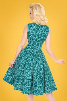 63492d9e630fb Hearts and Roses 29015 Green Polkadot Swing Dress 20190315 008