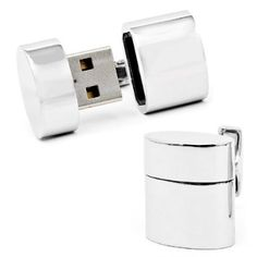 Polished Silver Oval USB Cufflinks (4GB)    Apparently designed for spies.