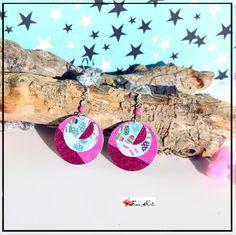 Boucles d'oreilles papiers rondes roses sur le thème de l'hiver, collection Noël, bijou paillettes roses : Boucles d'oreille par sunkris