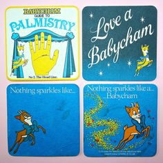 Kitsch 1970s 1980s Vintage Babycham Dear Bambi Cardboard Advertising Coasters