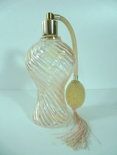Vintage Iridescent Pink Glass Perfume Atomizer Bottle Ribbed Swirl
