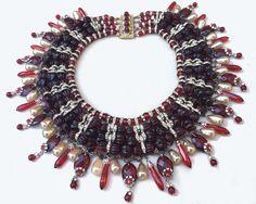 1940s Vintage Miriam Haskell Cranberry / Garnet Red Collar  Fringe Bib Necklace  #MiriamHaskell #FringeBibNecklace