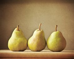 Three Pears  Fruit Print Kitchen Art  Tan by LisaBonowiczPhotos