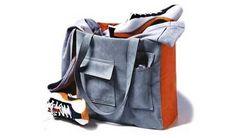 Free Tote Bag Pattern - Gray and Orange Pocket Bag