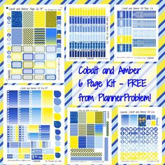 Cobalt and Amber FREE Full Kit! | Free Printable Planner Stickers from plannerproblem.wordpress.com. Download for free at https://plannerproblem.wordpress.com/2016/07/01/cobalt-and-amber-full-kit-free-printable-planner-stickers/ Sized for the Erin Condren Vertical and MAMBI Happy Planner. 6 Pages of stickers including full boxes, half boxes, washi, icons, sidebars, checklists, little things, headers and more!