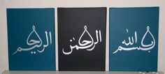 Set of 3 Islamic paintings on canvas by IslamicArtDesign on Etsy, £39.00