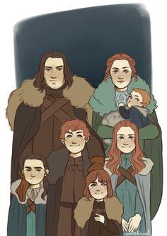 Clockwise: Catelyn Stark, Rickon Stark, Sansa Stark, Brandon Stark, Arya Stark, Robb I Stark and Eddard Stark.