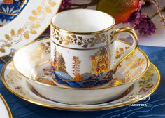 The Miramare Castle is a castle, built for Austrian Archduke Maximilian Habsburg and his wife. Painted with the harmony of rich gold and oriental blue. Coffee Cups And Saucers, Tea Cup Saucer, Chocolate Pots, Chocolate Coffee, Maximilian I, China Tea Sets, Tea Service, Coffee Set, Tea Pots