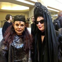 Michele Lamy and Diane Pernet at Paris menswear shows, from The Business of Fashion Instagram feed.