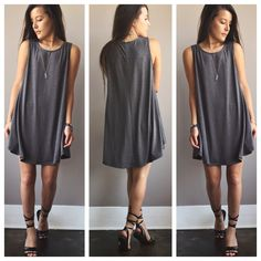 A Potato Sack Dress in Dark Grey