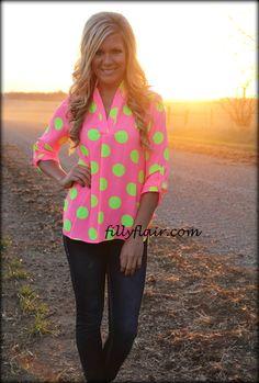 neon pink polka shirt! #neon #polkadots #fillyflair