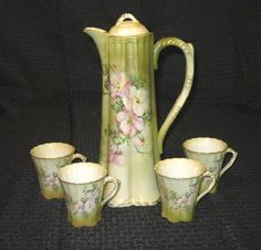 Vintage Nippon Hot Chocolate Set Pitcher and Four Cups FREE SHIPPING