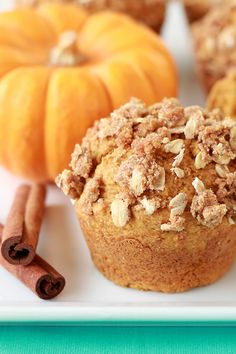 Yum-Yum Pumpkin Streusel Muffins! Have you gotten your fill of pumpkin yet? Nah, neither have we! In fact, we'll probably be making these delicious muffins all year-round... Just 178 calories!