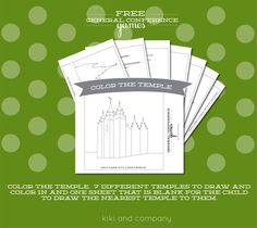 free general conference printable games. color the temple.