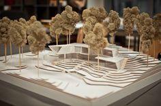 Scale architectural model by Egils Markus - Architecture Ideas Maquette Architecture, Landscape Architecture Model, Architecture Model Making, Conceptual Architecture, Landscape Model, Minimalist Architecture, Architecture Portfolio, Architecture Design, Architecture Diagrams