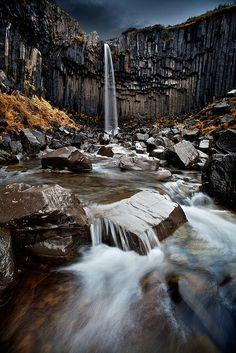 Black Falls (Svarti foss) in Vatnajokull National Park, Iceland  (by Snorri Gunnarsson on Flickr)