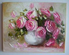 Pink Roses IMPASTO Original Oil Painting Still life Impressionist Europe Artist #Impressionism
