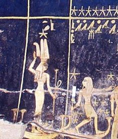 "Isis-Sothis (Sirius, at left) and Osiris-Sahu (Orion) sailing across the firmament; from the astronomical ceiling of the ""House of Gold Wherein One Rests"" (the burial chamber) of the ""House of Eternity"" of the Great King Sethi I, KV17, West Uaset, Diospolis Megale-Thebes"