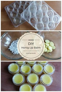 Instructions for Homemade Honey Lip Balm - Taynara.de The DIY Honey Lip Balm is quick and easy. To make your own lip balm you only need 5 ingredients and 12 cosmetic jars. Ideal as a gift for Christmas and perfect for the cold winter! Diy Beauté, Easy Diy, Make Your Own, Make It Yourself, How To Make, Lip Balm Recipes, Diy Lip Balm, Lip Scrubs, Body Scrubs