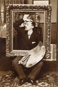 """Threadgood Knight Anonymous Portrait of Painter with Easel and Frame this is the painter """"Eugene Favier, Vintage Photographs, Vintage Images, Black N White Images, Black And White, Different Kinds Of Art, Artist Life, Vintage Travel Posters, Light Art, Old Photos"""